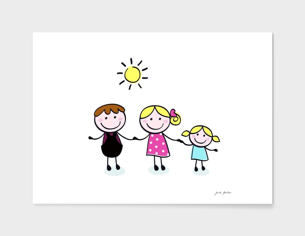 Hand drawn cute family : on white