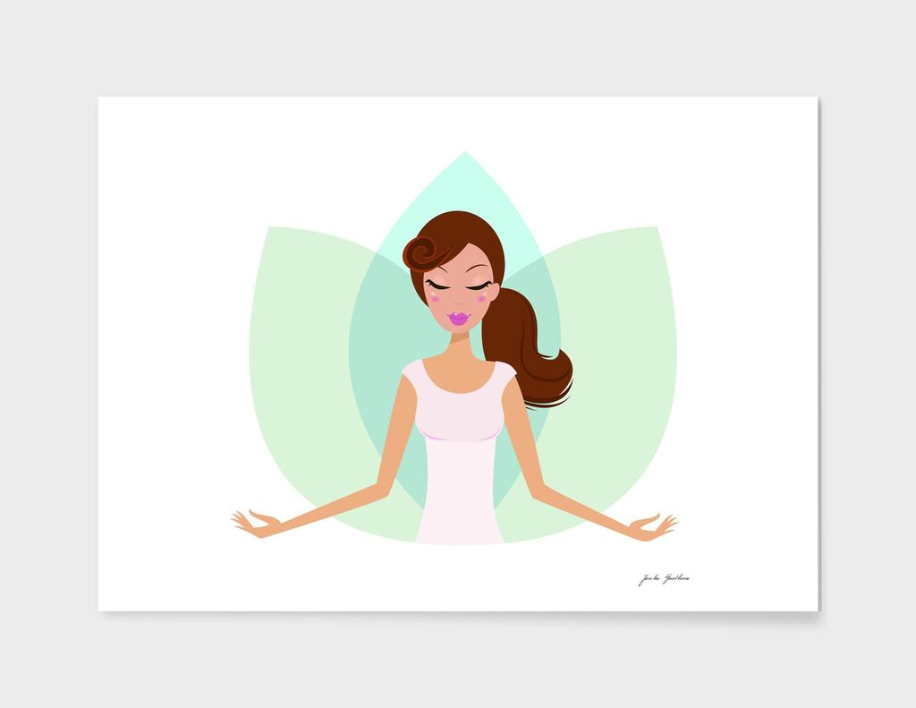 Yoga hand drawn woman in shop