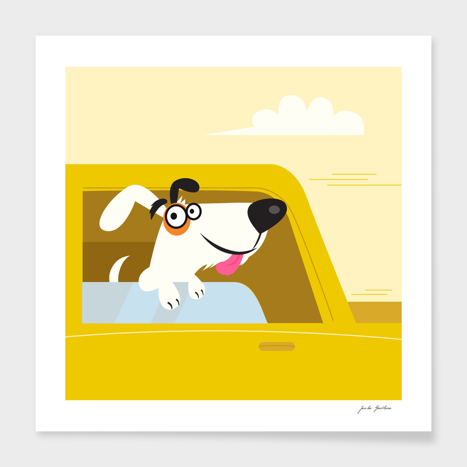 Cute doggie in taxi : Kids art