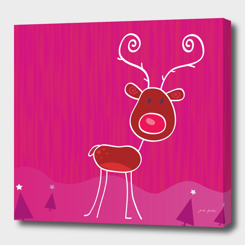 Cute handdrawn reindeer : Pink