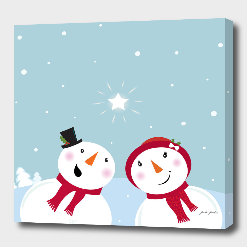 2 handdrawn snowmens : New art in shop