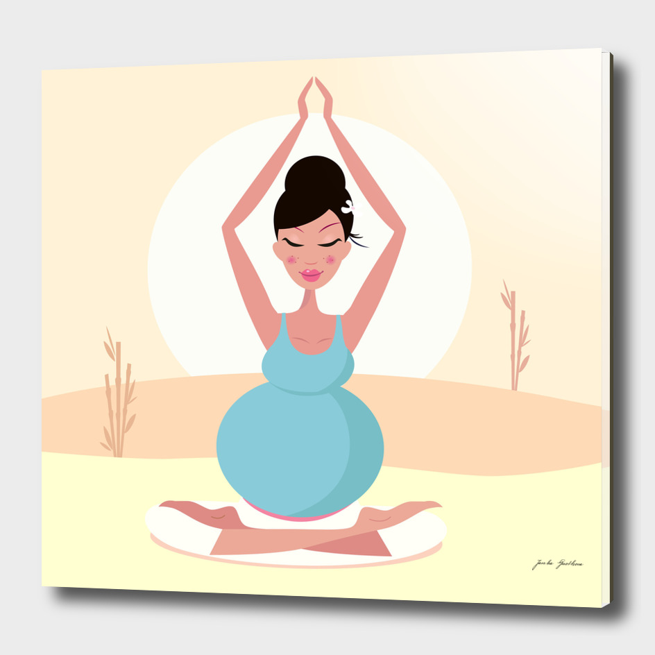 Hand drawn cute yoga girl : blue gold