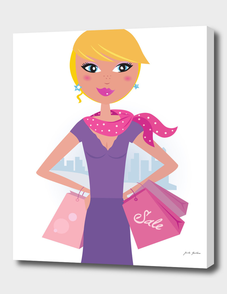 Creative shopping girl with bags