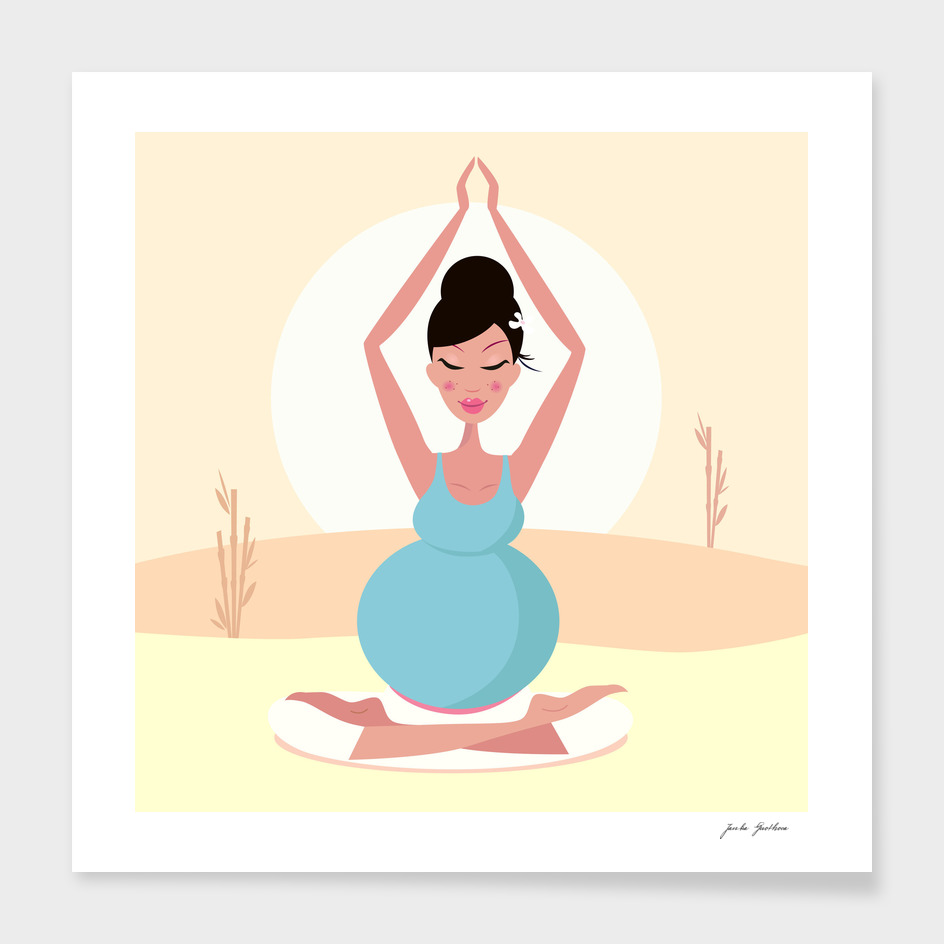 Hand drawn yoga girl : Meditation girl