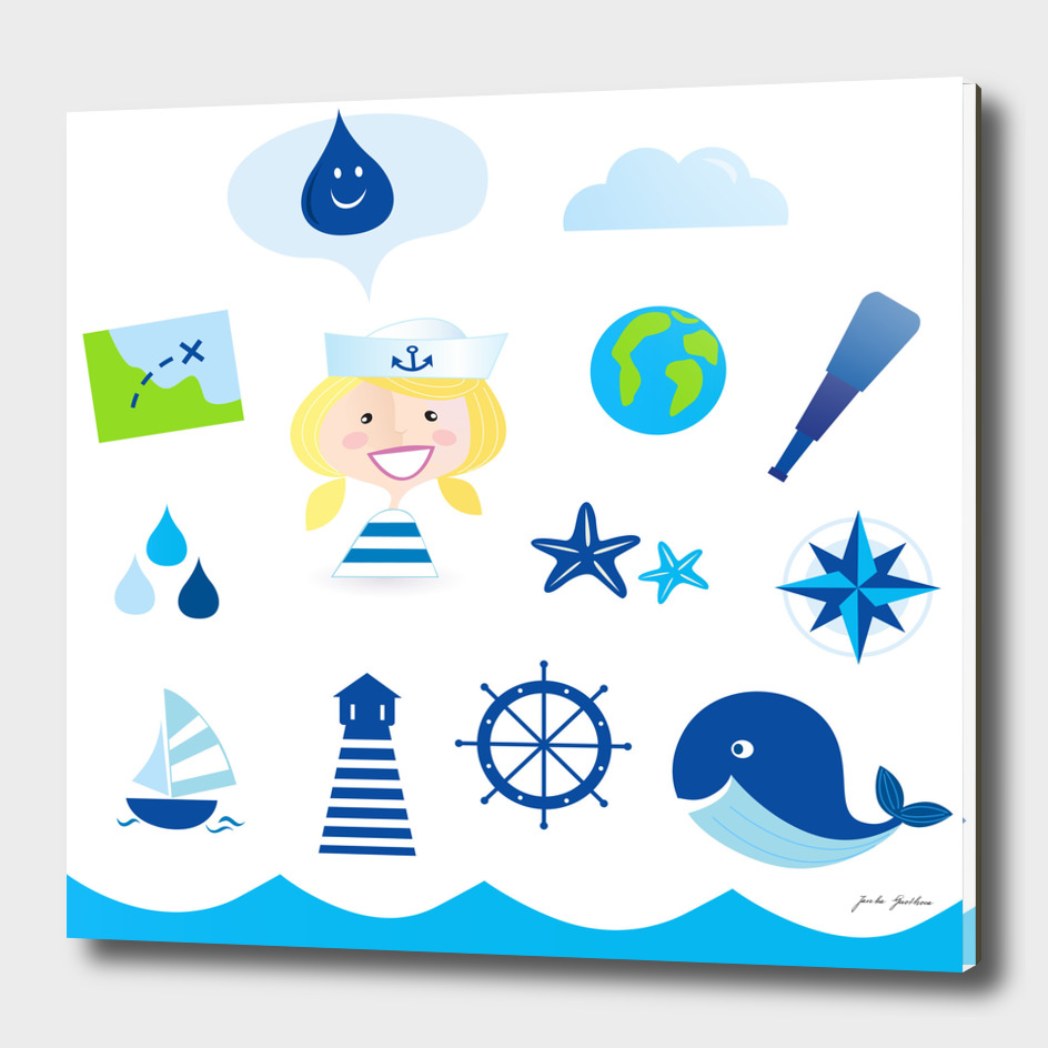New hand-drawn Sailor icons / on white
