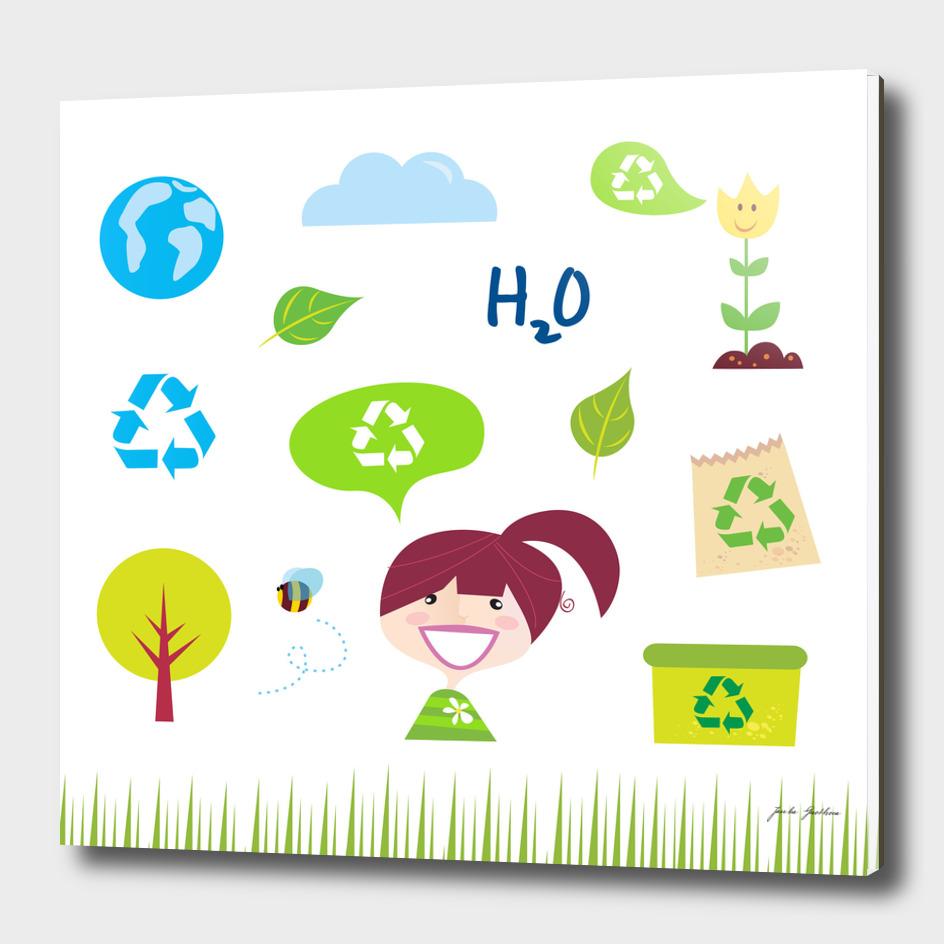 Cute stylish BIO girl Icons / health Idea