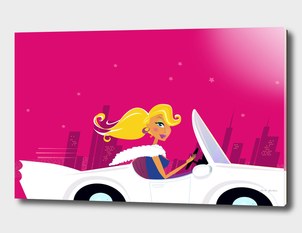 Cute girl in cabriolet : New art in shop