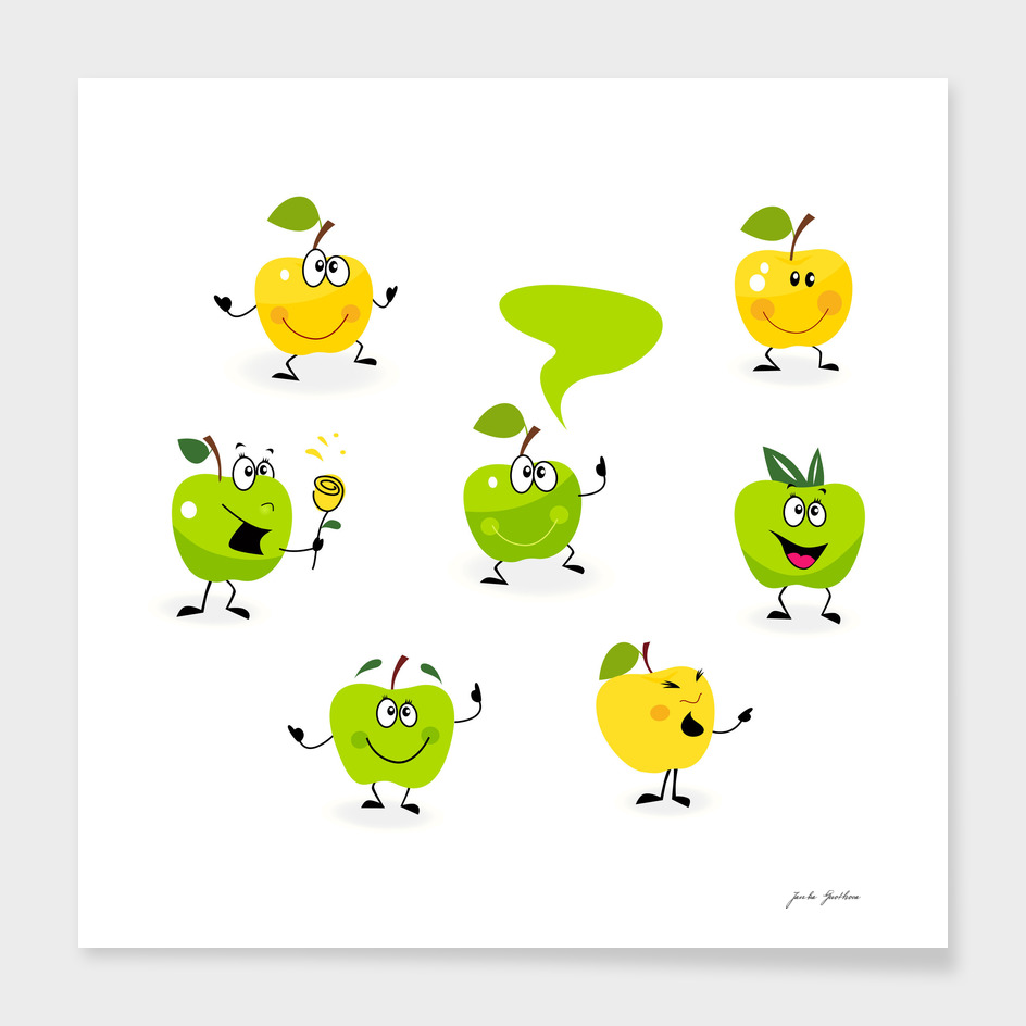Cute green apple characters / Mascot