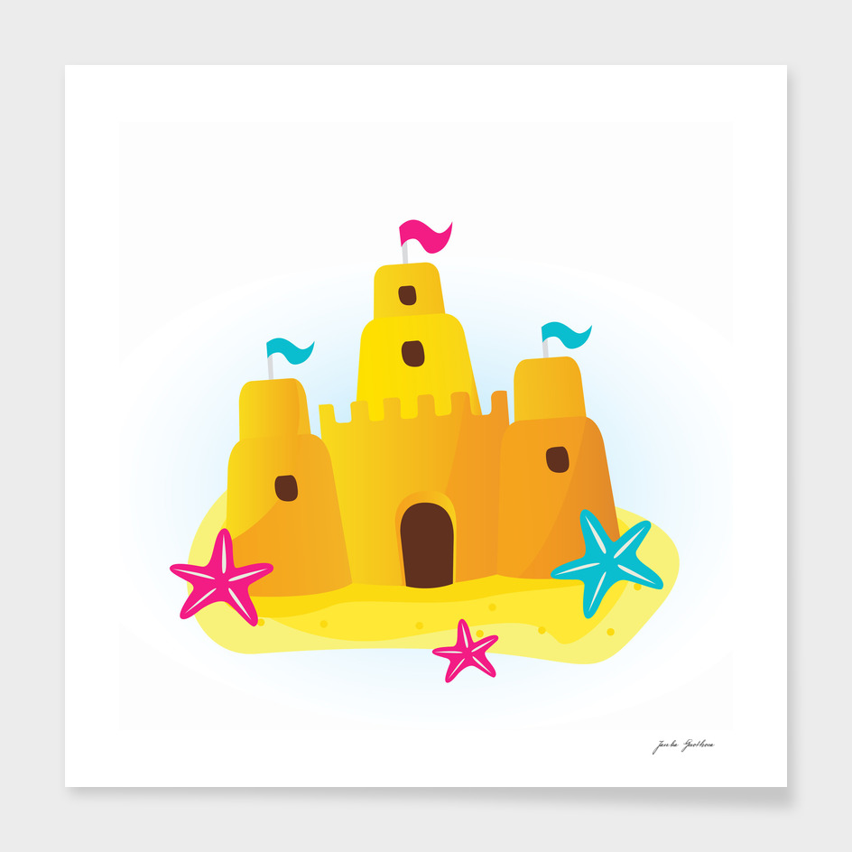 Kids art : Sand castle fresh yellow
