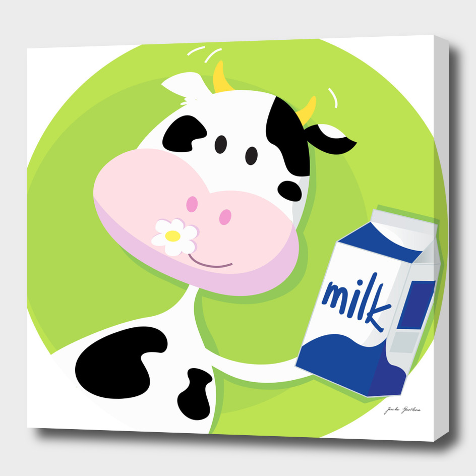 Little cow with Milk : blue green
