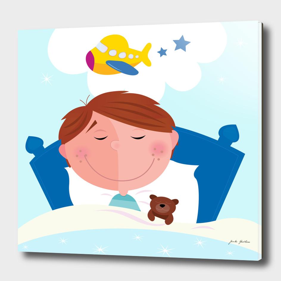 New cartoon boy in bedroom / BLUE