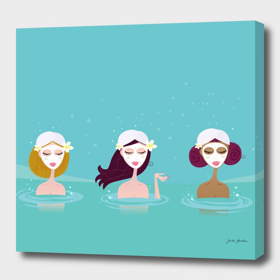 Creative hand drawn wellness girls in water