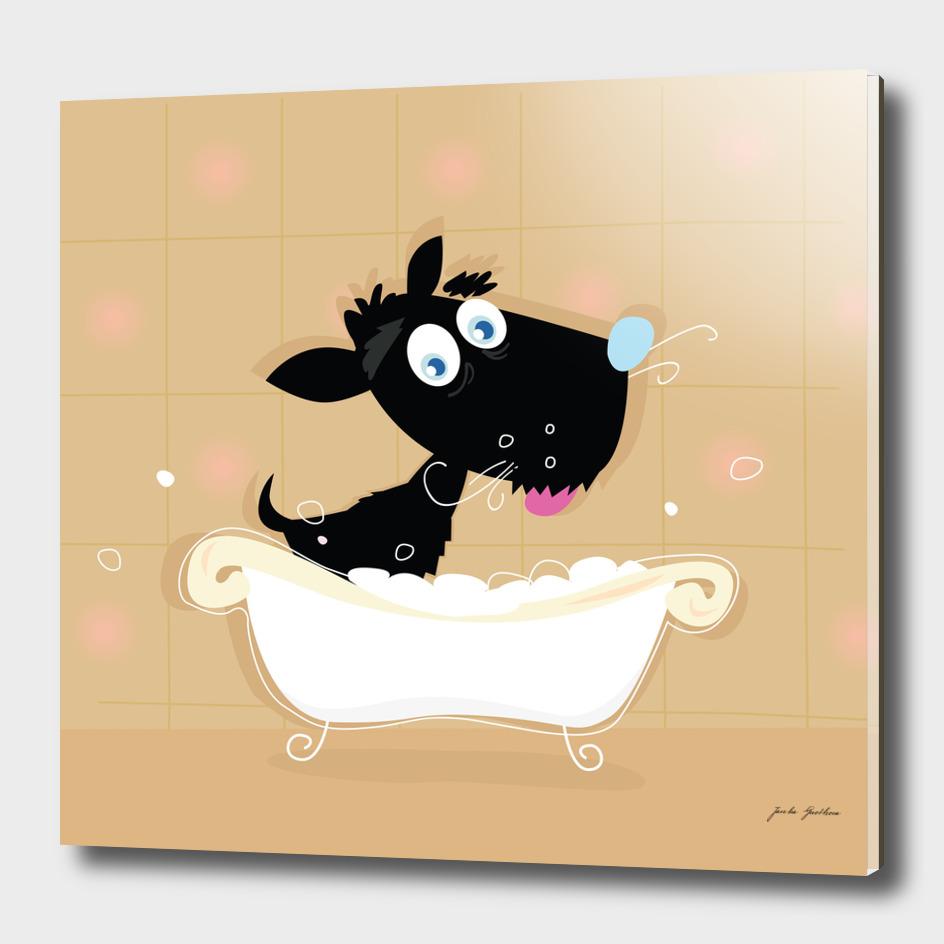 Cute hand-drawn black dog on brown