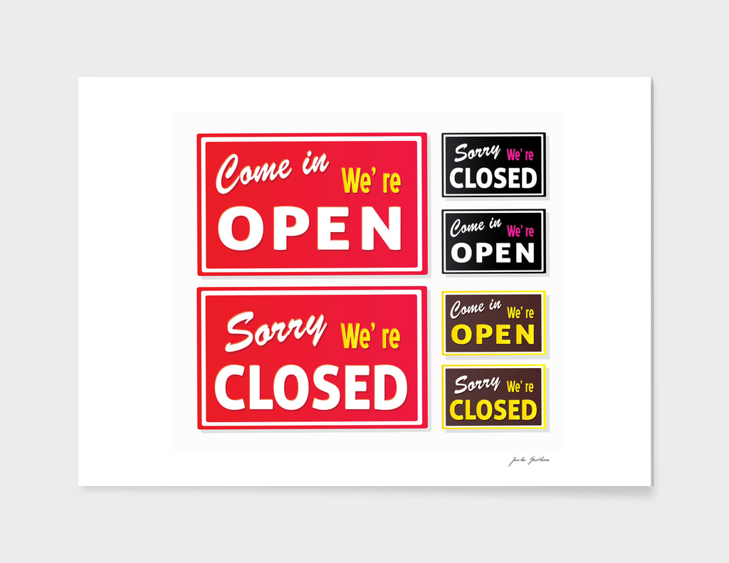 Open / Closed shopping signs / red, brown