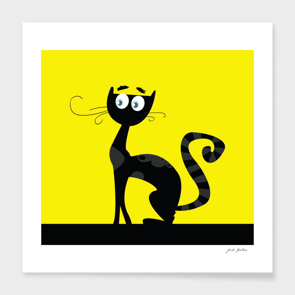 Vintage creative cat on yellow