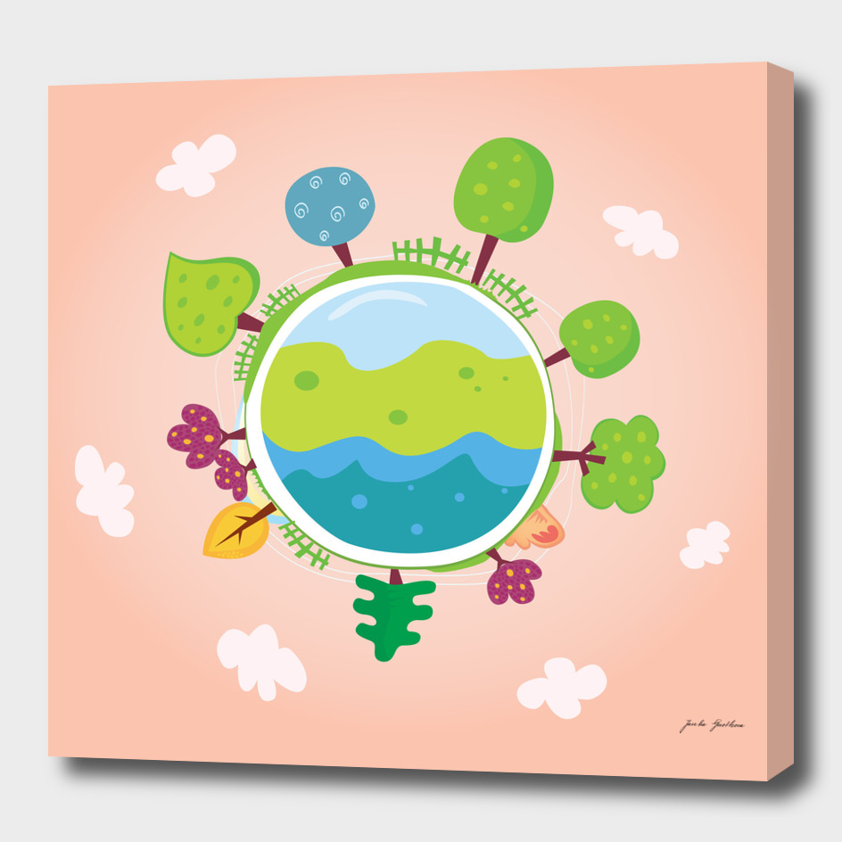 Hand drawn cute Earth on pink