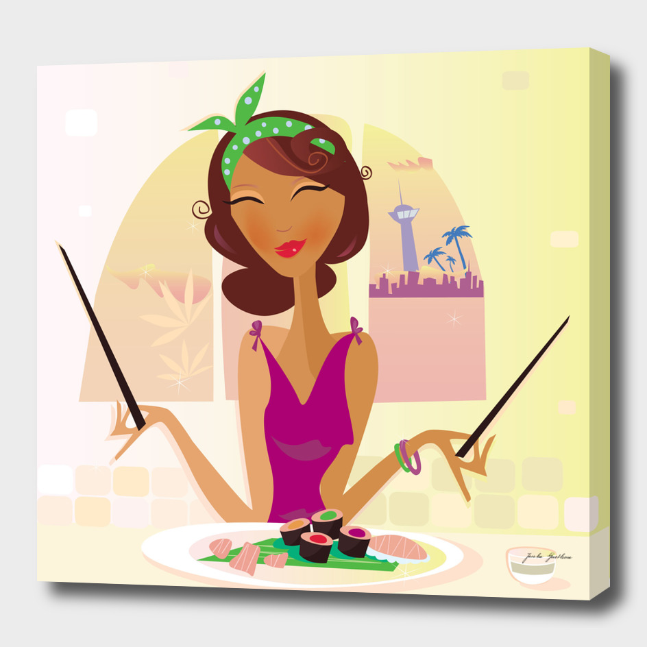 Vintage cute asia woman : New art in shop