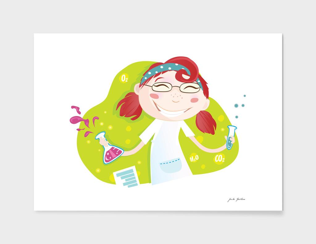 "Cute hand drawn ""Chemistry girl"""