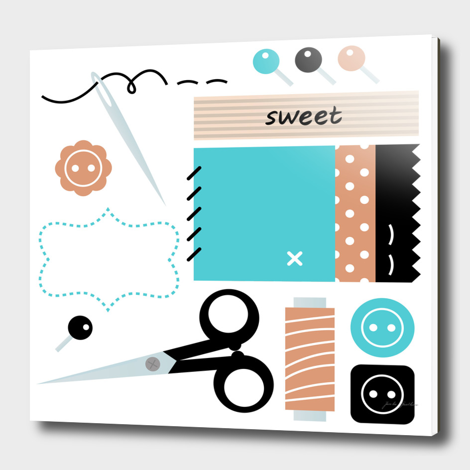 "Designers ""sewing set"" : brown blue"