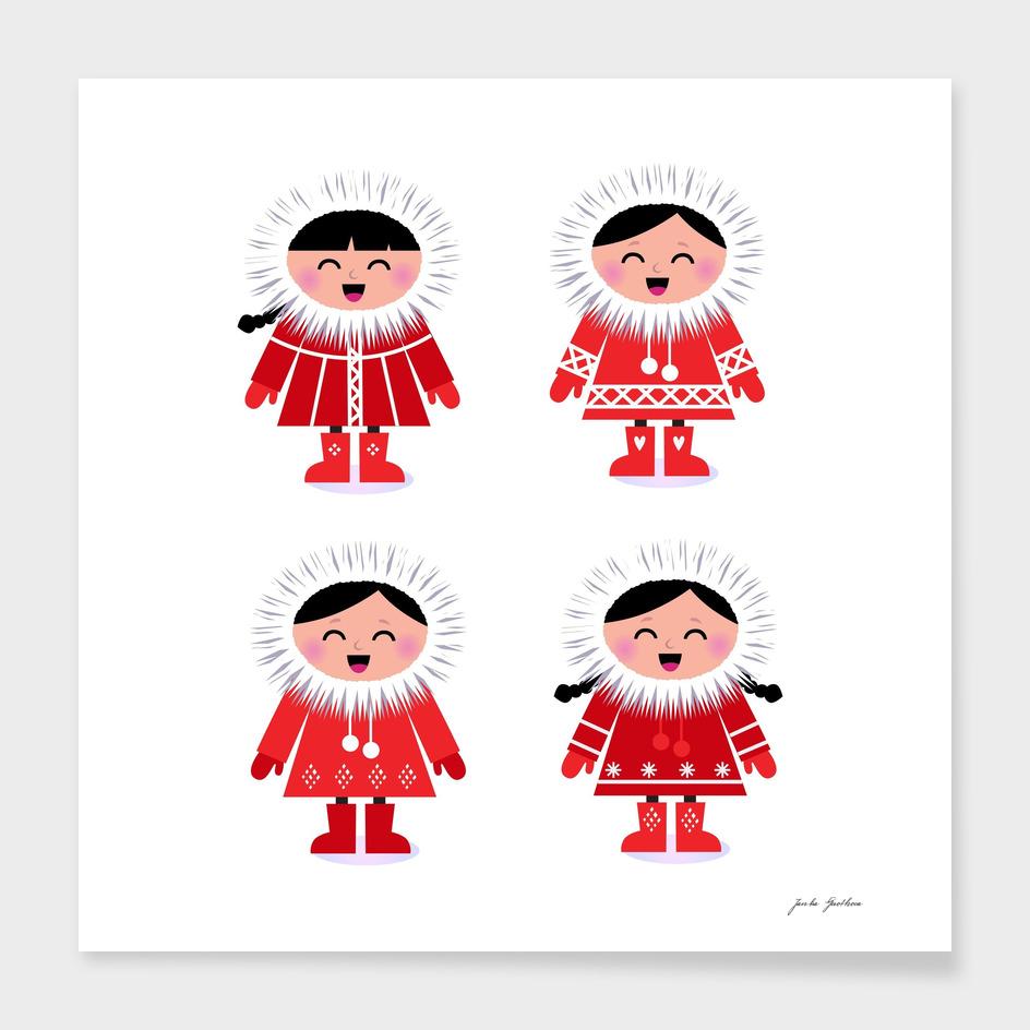Cute hand drawn stylish Eskimos / RED