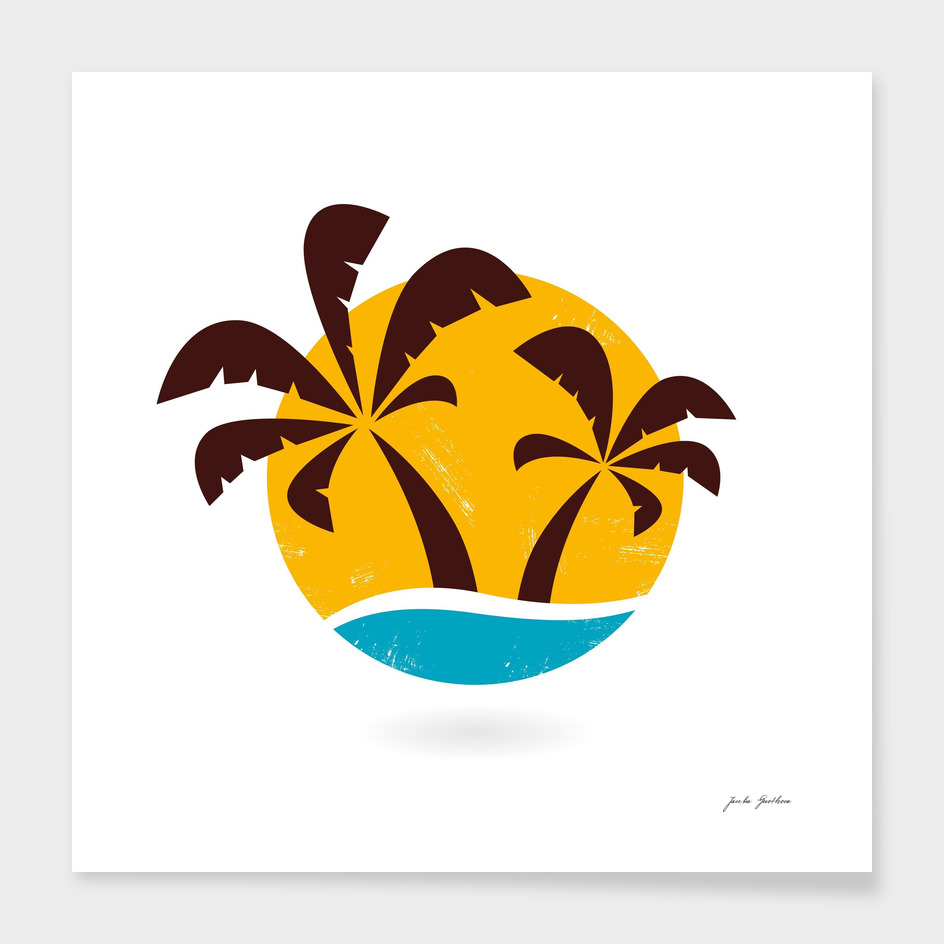 Hand drawn cute stylish Palms on white