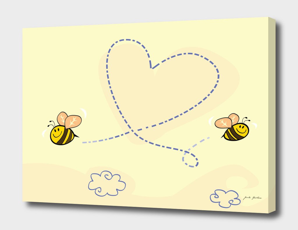 Cute lady bees / on yellow