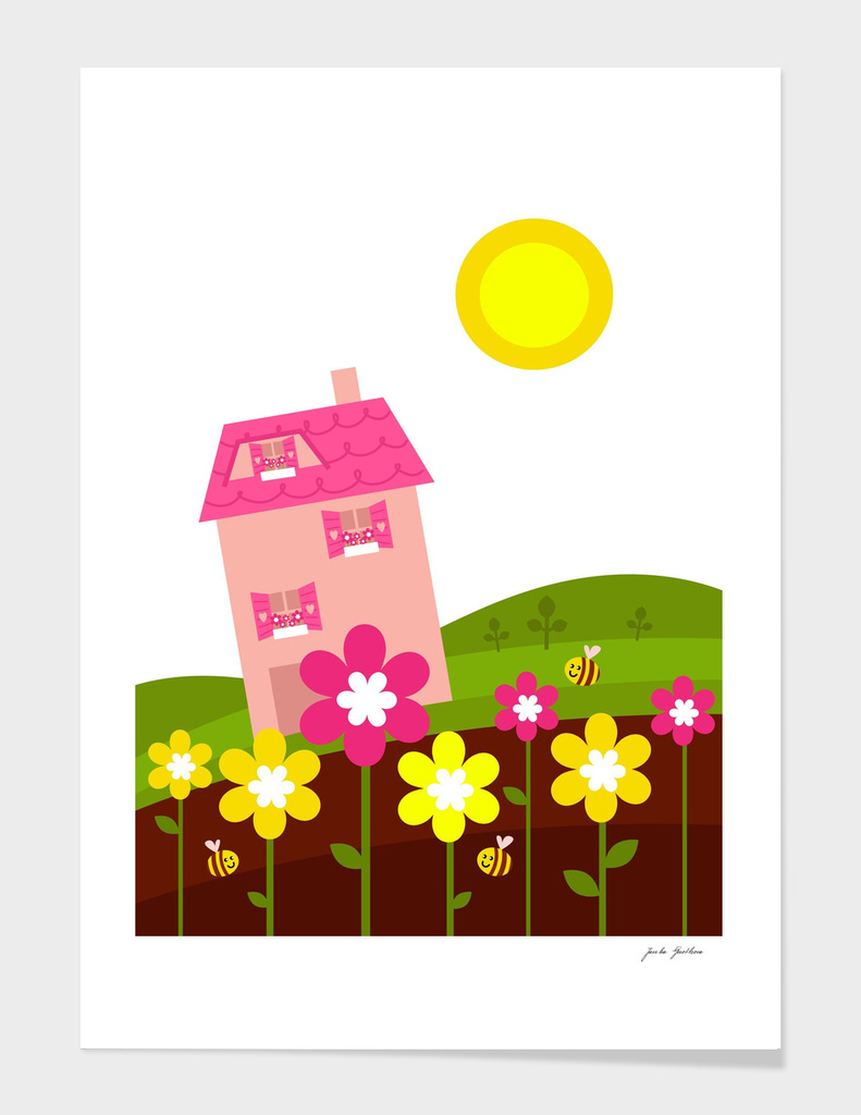 New art in shop : Pink house with hills