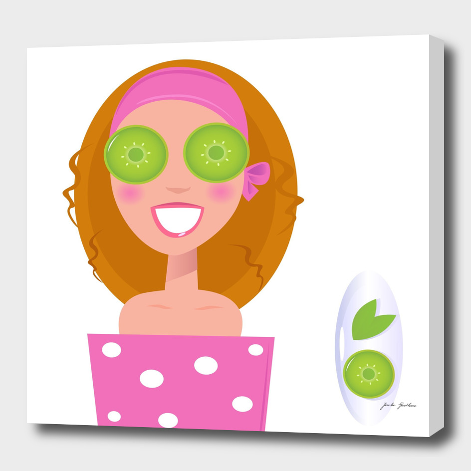 Hand drawn cute wellness girl