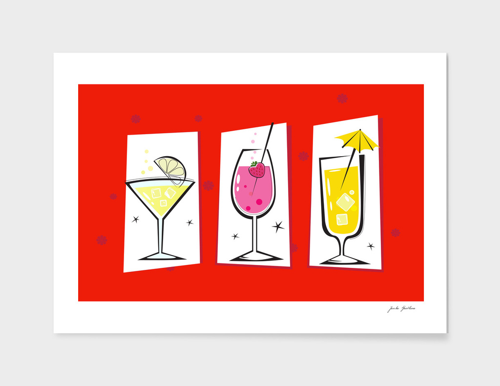 Hand drawn cute RED Cocktails