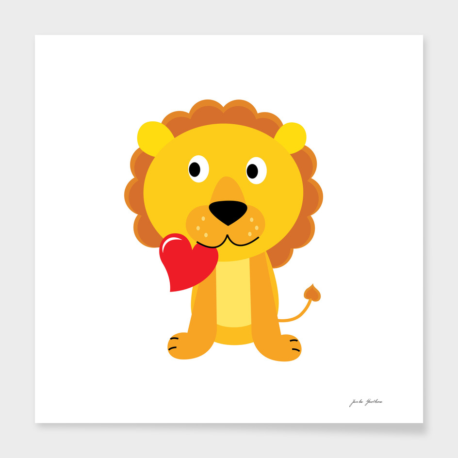 Cute stylish hand-drawn Lion / yellow