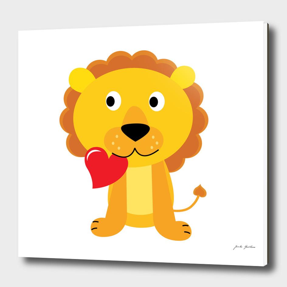 Cute stylish hand-drawn Lion / yellow