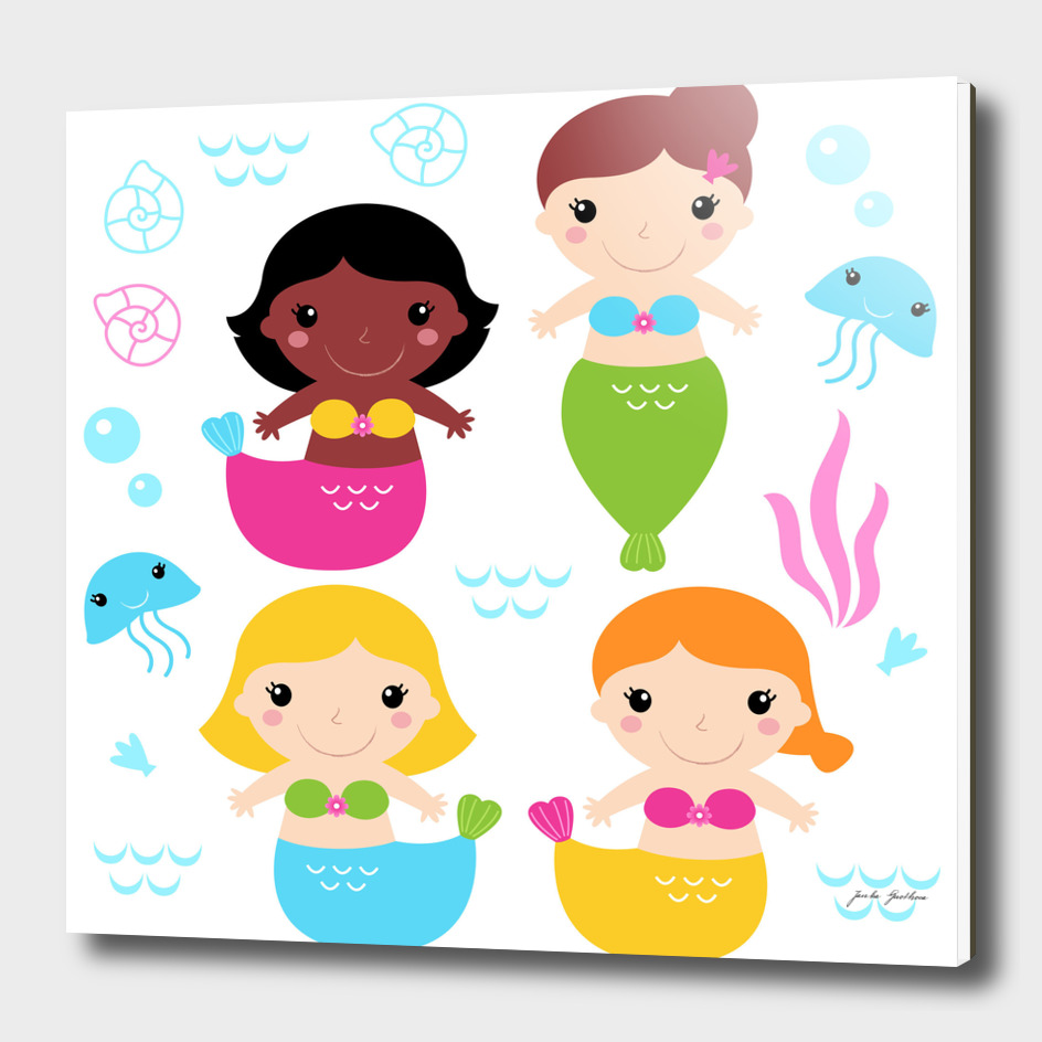 Happy cute little Mermaids characters