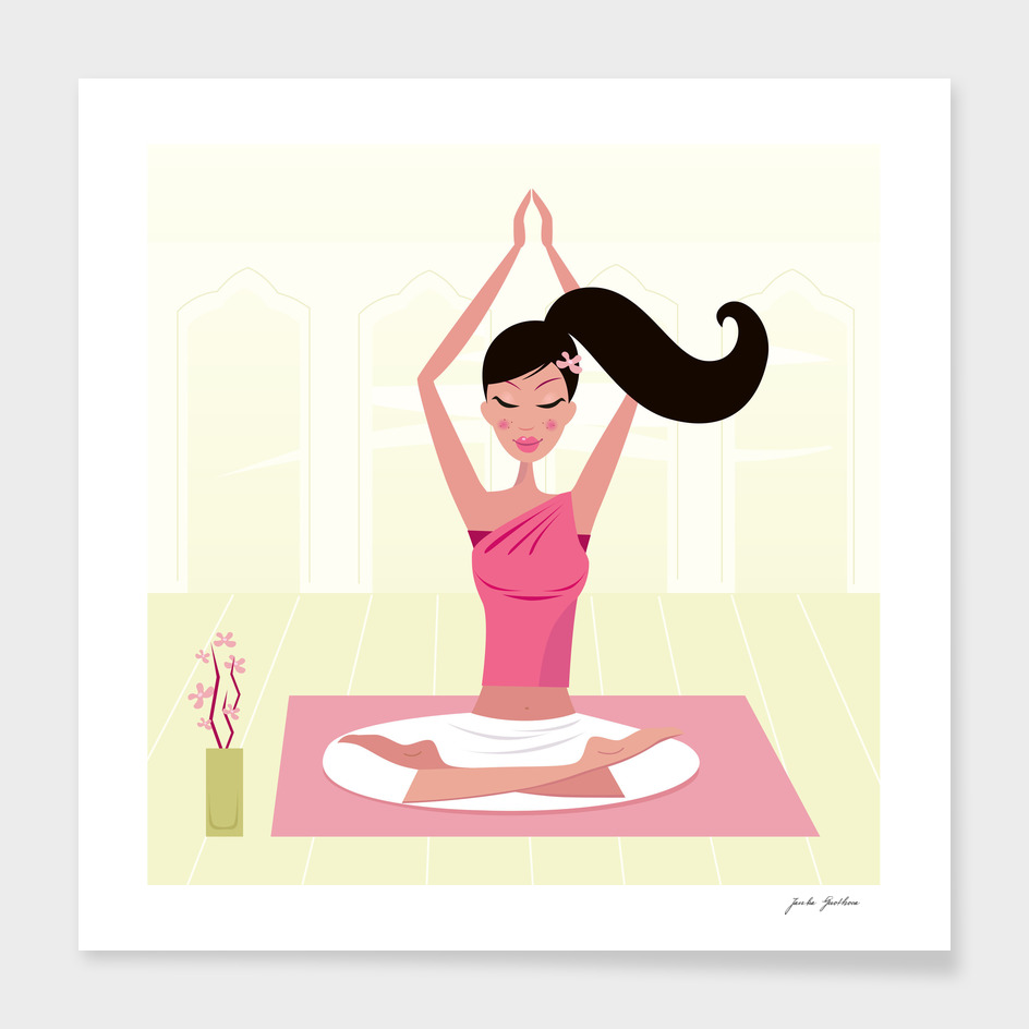 Cute handdrawn yoga girl : Pink