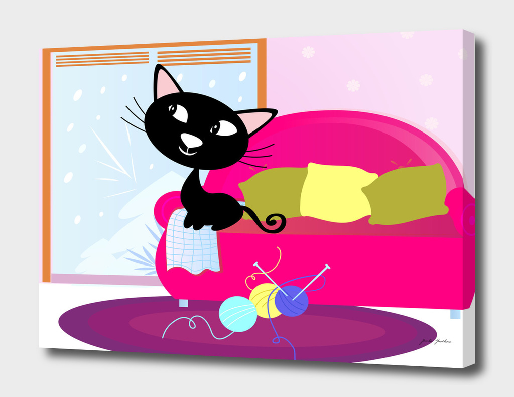 Hand drawn cute black cat on sofa