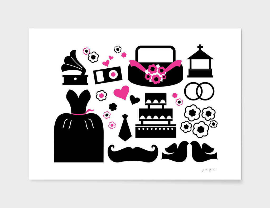 New creative wedding icons / on white