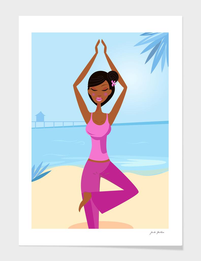 Wellness girl meditating near Sea