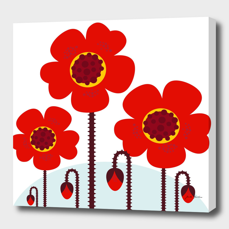 Folk big red Flowers / on white