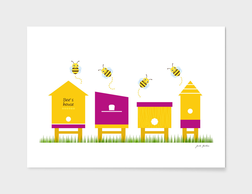 Cute lady bee Homes : yellow pink