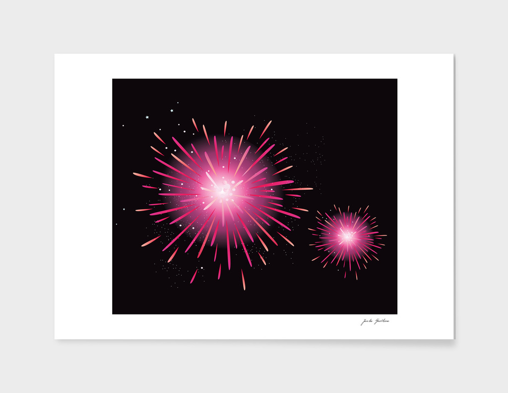 Cute hand-drawn Fireworks : black pink