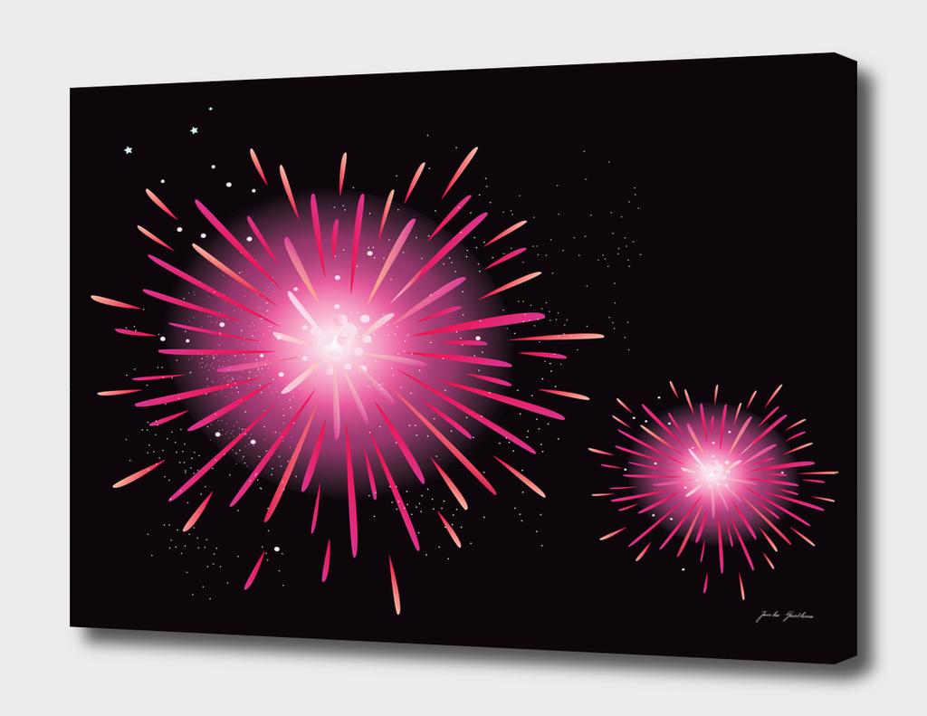 Cute hand-drawn Fireworks : black pink
