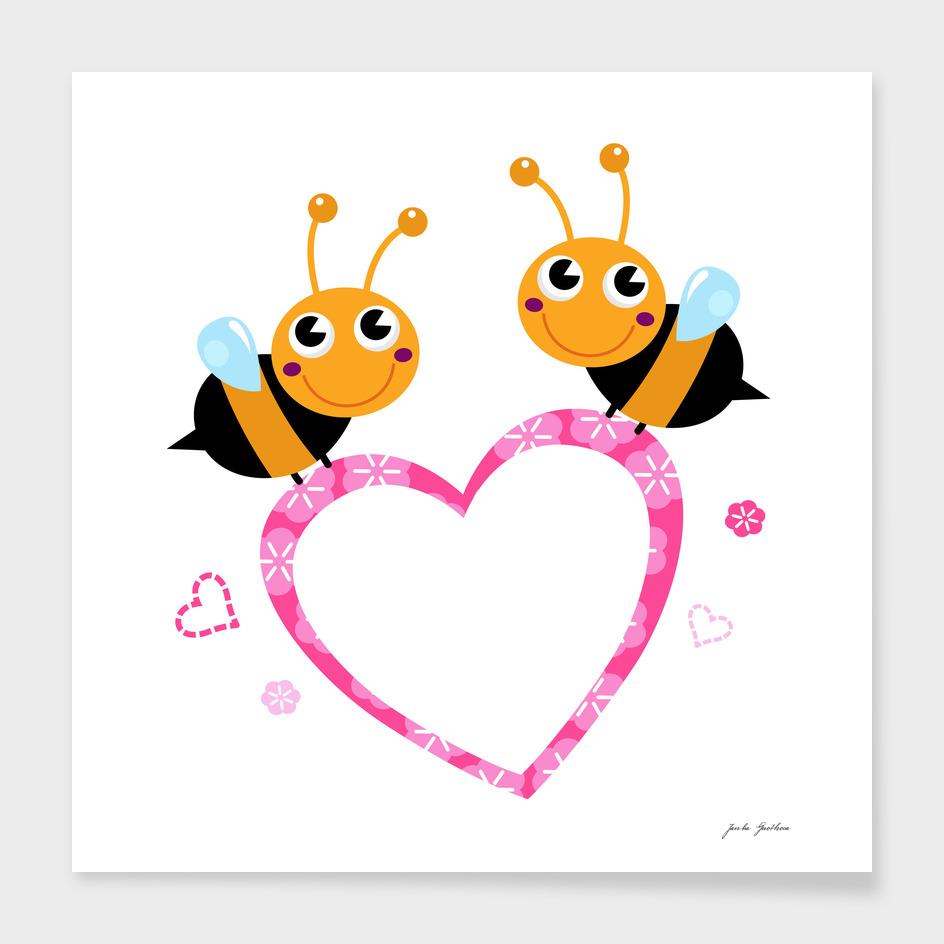 2 cute handdrawn lady Bees