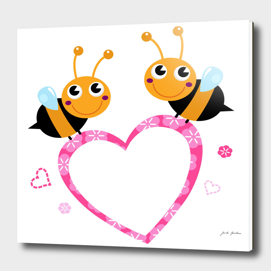 2 cute wonderful bees on white