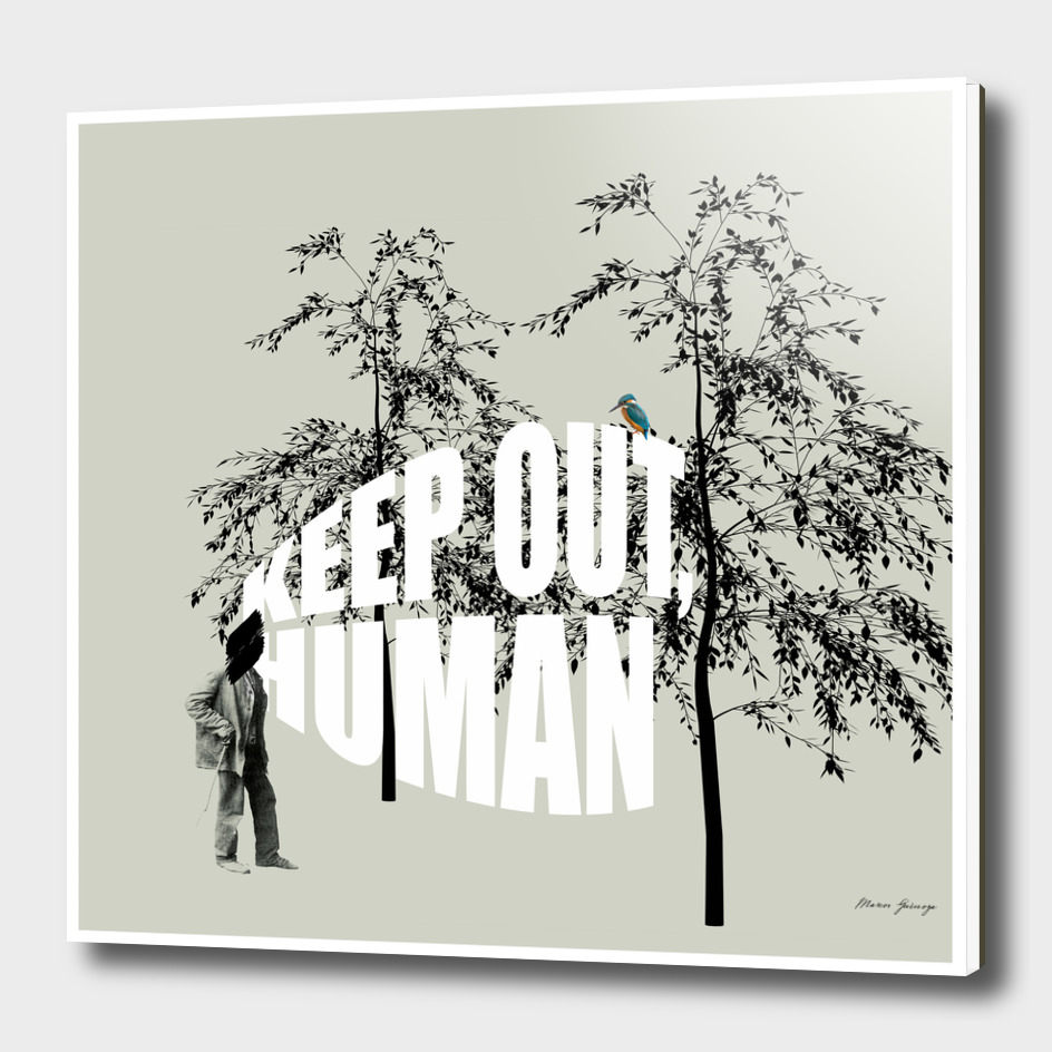 keep out, human