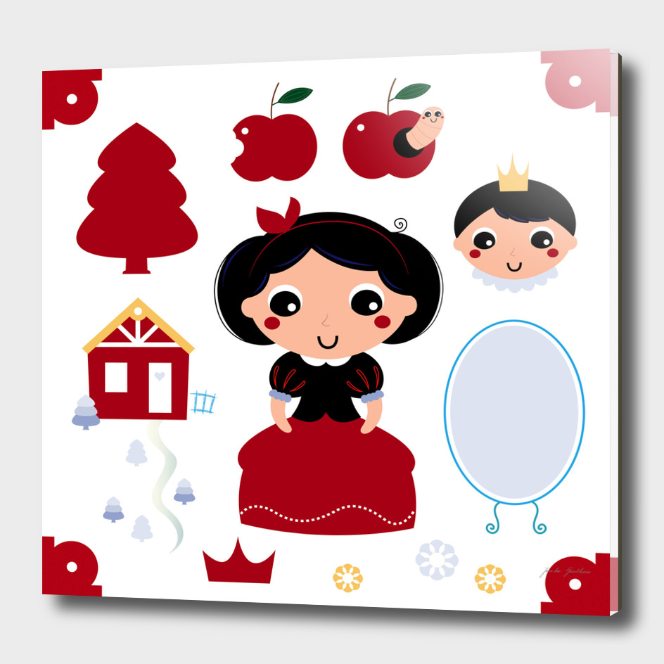 Hand drawn cute Snow white character