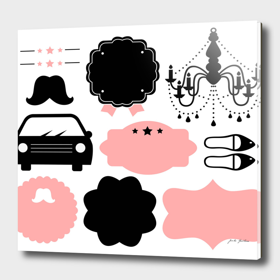 Hand drawn vintage ICONS : pink black