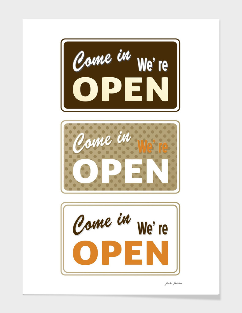 Open / Closed shop signs. New canvas in shop