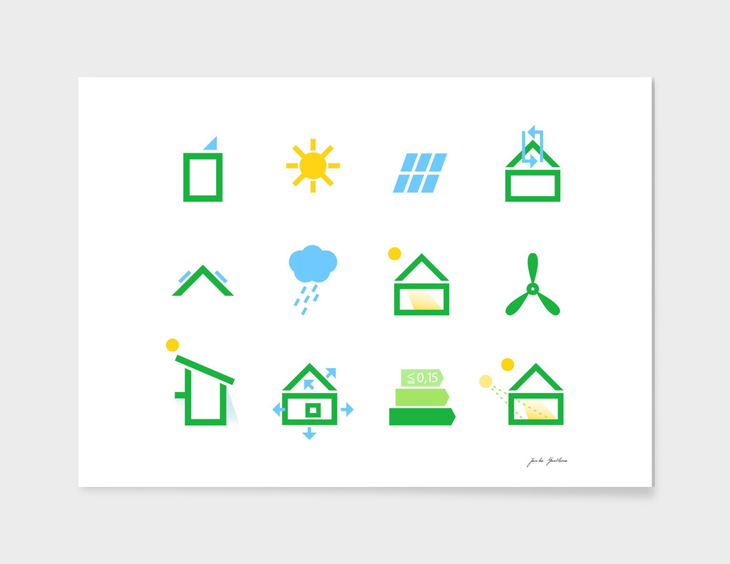 Eco green icons / on white