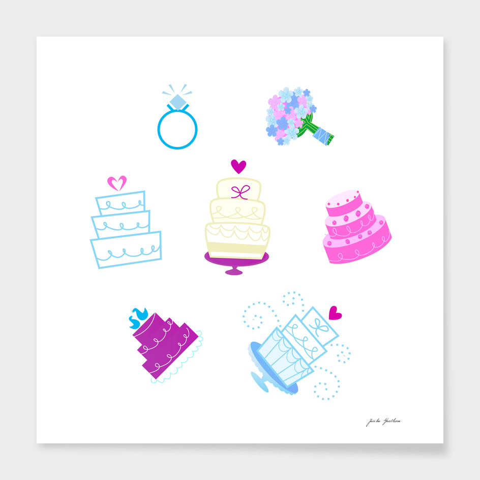 Cute cupcakes / pink on white