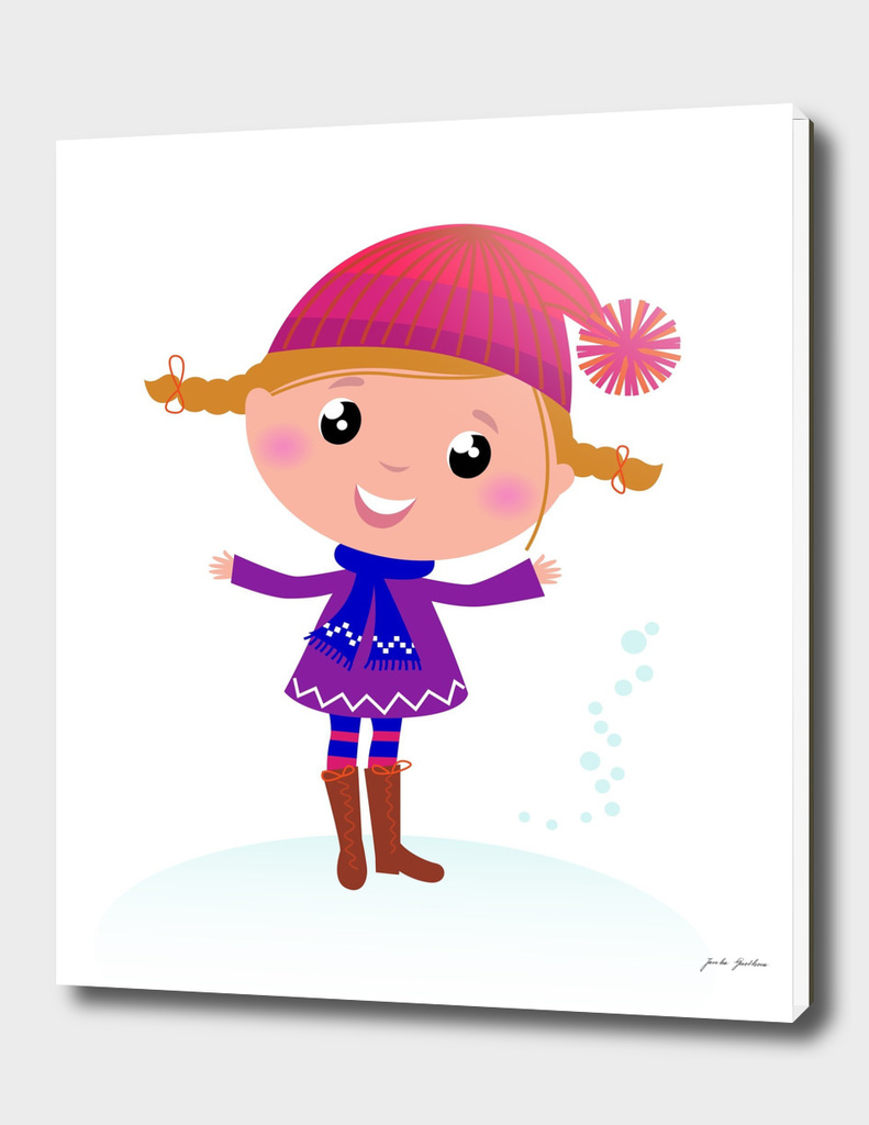 Cute handdrawn girl : Purple on white