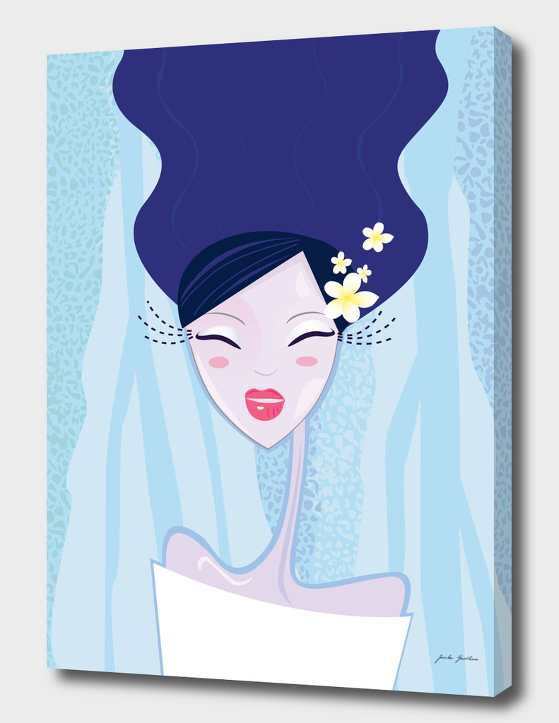 """Water"" Geisha Original art Illustration / BLUE"